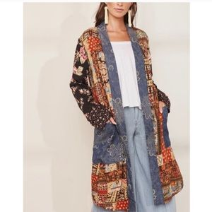 NWT Free People Songbird Patchwork long cardigan M